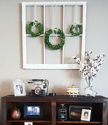 Boxwood Wreath Decor on Window Frame