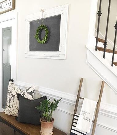 Boxwood Wreath on Chalkboard Frame