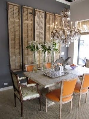 Dining Room with Shutter Wall Accent