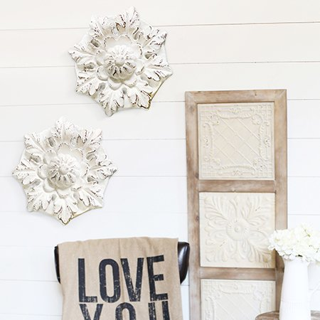 floral stone wall decor