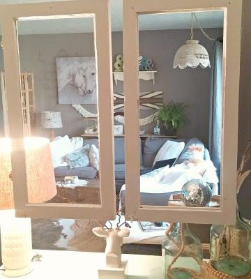 old window frame room divider
