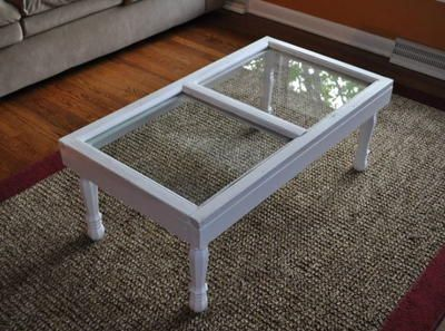 coffee table using old window frames