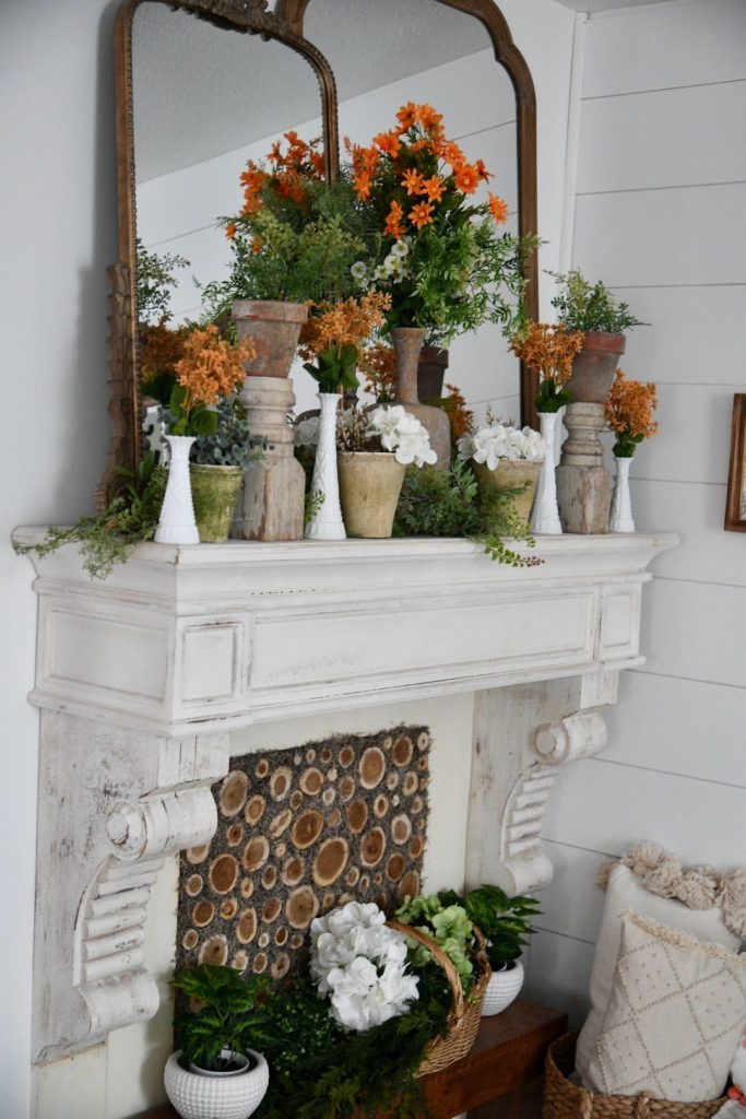 white-wood-fireplace-shelf