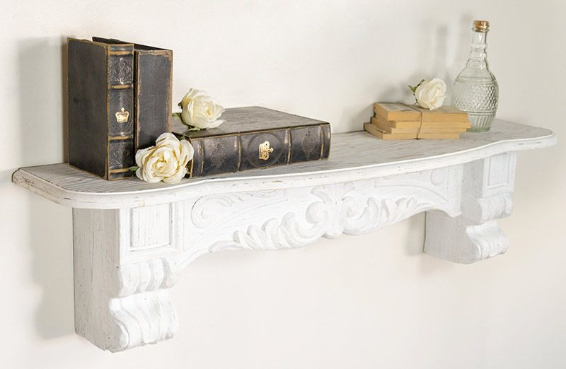 ornate-white-mantel-shelf